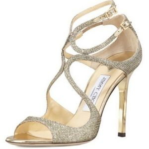 Jimmy Choo LANG Gold Dusty Glitter Sandals